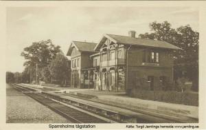 Vykort Sparreholms Station, förlag Vallins Bokhandel Flen, Calegi vykortslager 2953